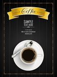 Cup of coffee with yellow ribbon and spoon on dark wooden background Royalty Free Stock Photos