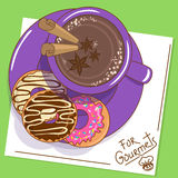 Illustration with cup of hot chocolate and donuts Stock Image