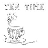 Illustration with a cup of tea and an inscription. Royalty Free Stock Image