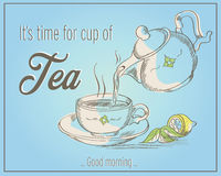 Illustration of cup of tea and teapot with words It`s time Stock Photography