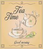 Illustration of cup of tea and teapot with words Tea time and go Stock Image