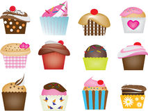 Illustration of cupcake set. 12 design of lovely cupcake for pastry and bakery vector illustration