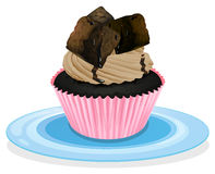 A cupcake. Illustration of a cupcake on a white background Stock Image