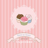 Illustration  with cupcakes Stock Photography
