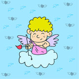 Illustration of cupid on sky Stock Photos