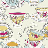 Illustration of cups and saucers. With written words i love tea on a white background Stock Illustration