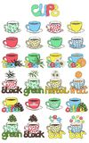 Illustration of cups for tea and coffee with different ingredien. Ts. Use for menu tea and coffee bars. Vector illustration drawn by freehand Stock Images