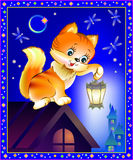 Illustration of curious kitten holding a lantern at night. stock illustration