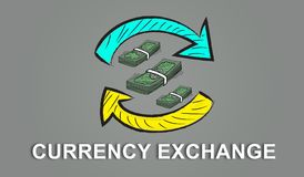 Concept of currency exchange. Illustration of a currency exchange concept Stock Photo