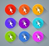 Cursor icons with various colors. Illustration of cursor icons with various colors Stock Photos