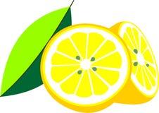 Illustration cut in half lemon with leaf Stock Images