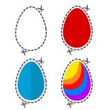 Illustration of a cut out colored Ester eggs symbol shape with s vector illustration