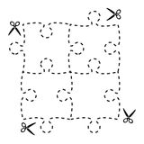 Illustration of a cut out puzzle rectangle shape with scissors v. Ector, eps 10 Stock Photo