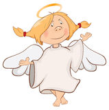 Illustration of a Cute Angel. Cartoon Character Stock Photo