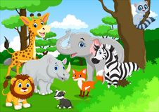 Cute animals cartoon in the jungle Stock Photo