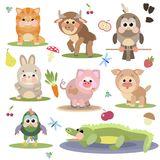 Illustration of cute animals on white background. Interesting abstract illustration of cute cartoon animals on white background Stock Image
