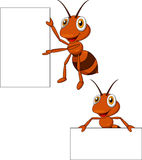 Cute ant cartoon with blank sign. Illustration of cute ant cartoon with blank sign Royalty Free Stock Photo