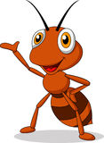 Cute ant cartoon waving Royalty Free Stock Photography