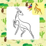 Illustration of cute antelope. Coloring page. Royalty Free Stock Photos