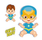Illustration cute baby boy in the costume of a superhero. Stock Image