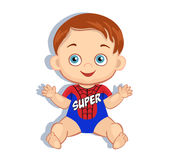 Illustration cute baby boy in the costume of a superhero. Stock Photos