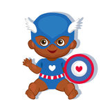 Illustration cute baby boy in the costume of a superhero. Stock Photo