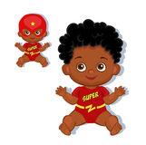 Illustration cute baby boy in the costume of a superhero. Royalty Free Stock Photo
