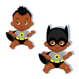 Illustration cute baby boy in the costume of a superhero. Stock Photography