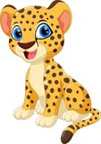 Illustration of cute baby cheetah cartoon smile. Isolated on white background Royalty Free Stock Photo