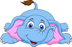 Cute elephant cartoon lying. Illustration of cute baby elephant cartoon lying Stock Illustration