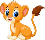 Illustration of cute baby lion cartoon. Isolated on white background Royalty Free Stock Image