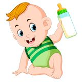 The cute baby playing and hold the milk bottle. Illustration of the cute baby playing and hold the milk bottle vector illustration