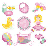 Illustration of cute baby products Stock Images
