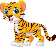 Illustration of cute baby tiger cartoon smile. Isolated on white background Royalty Free Stock Photo