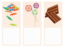 Chocolates, Lollipops and Hard Candy on Lovely Bac Royalty Free Stock Images