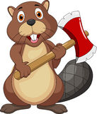 Cute beaver with axe Royalty Free Stock Photo