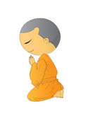 Illustration of Cute Begging young monk cartoon Stock Images