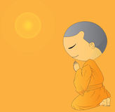 Illustration of Cute Begging young monk cartoon Royalty Free Stock Photography