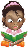 Illustration cute black girl reading book Royalty Free Stock Image