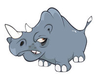 Illustration of a Cute Black Rhinoceros. Cartoon Royalty Free Stock Photo