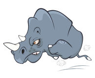 Illustration of a Cute Black Rhinoceros. Cartoon Stock Photo