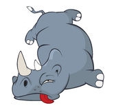 Illustration of a Cute Black Rhinoceros. Cartoon Stock Images