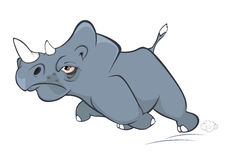 Illustration of a Cute Black Rhinoceros. Cartoon Royalty Free Stock Image