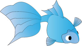 Illustration of a cute blue goldfish Royalty Free Stock Images