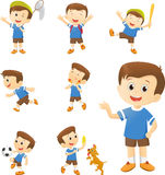 Illustration of cute boy cartoon character in many action. Isolated on white isolated on white Stock Photos