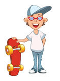 Illustration of a Cute Boy. Cartoon Character. Skateboarding Stock Images