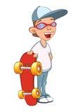 Illustration of a Cute Boy. Cartoon Character. Skateboarding Stock Photography