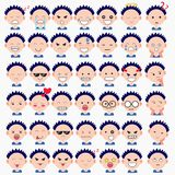 Illustration of cute boy faces showing different emotions. Joy, sadness, anger, talking, funny, fear, smile. Isolated illustration. On white background royalty free illustration