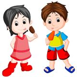 Cute boy and girl eating ice cream. Illustration of cute boy and girl eating ice cream Royalty Free Stock Images