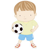 Illustration of a cute boy is holding a football ball isolated o Royalty Free Stock Photos